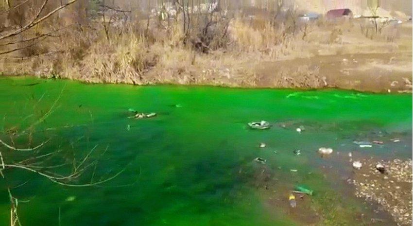 Ядовито-зеленый цвет воды реки Аламедин. Фото. Видео
